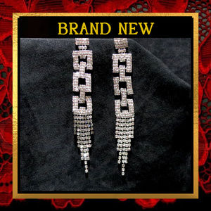 Long Rhinestone Square Chain Earrings  #750